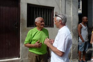 The author and a Cuban friend discussing something other than politics
