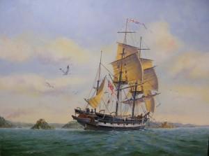HMS Beagle in Sydney Harbour Ron Scobie 1838