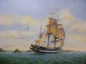 HMS Beagle in Sydney Harbour Ron Scobie 1838