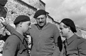 EH 6672P Ernest Hemingway with Ilya Ehrenburg and Gustav Regler during the Spanish Civil War, not dated, circa 1937. Photograph in the Ernest Hemingway Photograph Collection, John F. Kennedy Presidential Library and Museum, Boston.